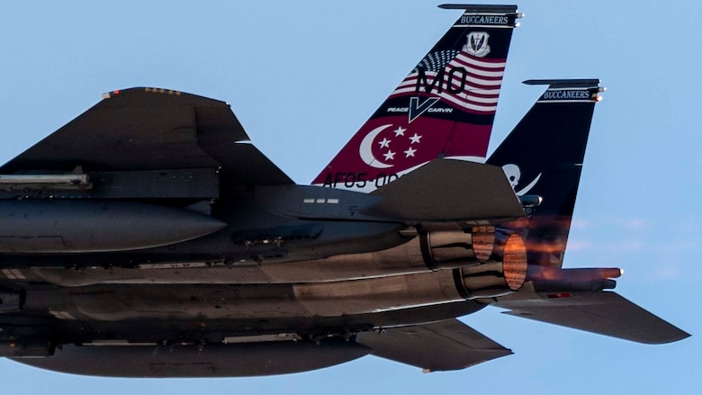 An F-15SG Strike Eagle from the 428th Fighter Squadron takes flight.
