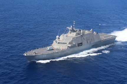 The Freedom-variant littoral combat ship USS Wichita (LCS 13) transits the Caribbean Sea, Mar. 2, 2021.