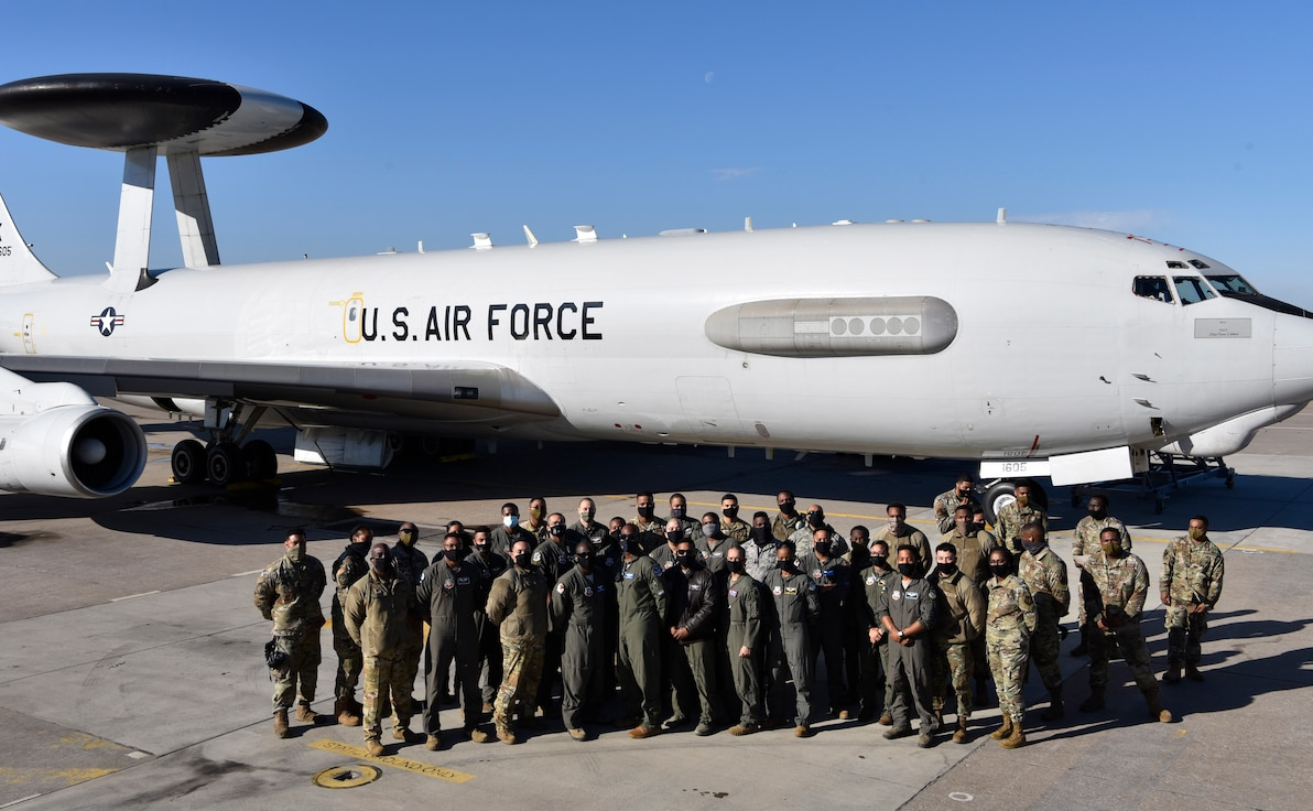 Group photo in front of AWACS aircraft