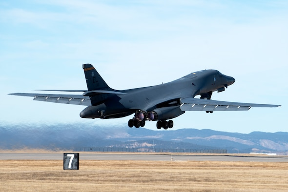 A B-1B Lancer assigned to the 37th Bomb Squadron takes off from Ellsworth Air Force Base, S.D., March 3, 2021. About 200 Ellsworth Airmen and several B-1 bombers are participating in Red Flag 21-2, at Nellis AFB, Nevada, March 8-19. This iteration of Red Flag will host 2,500 U.S. and international participants from a dozen states, Singapore, Sweden and seven NATO member nations.  (U.S. Air Force photo by Airman 1st Class Quentin Marx)