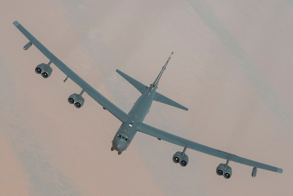 A U.S. Air Force B-52 Stratofortress assigned to the 5th Bomb Wing soars over the U.S. Central Command area of responsibility, March 7, 2021.