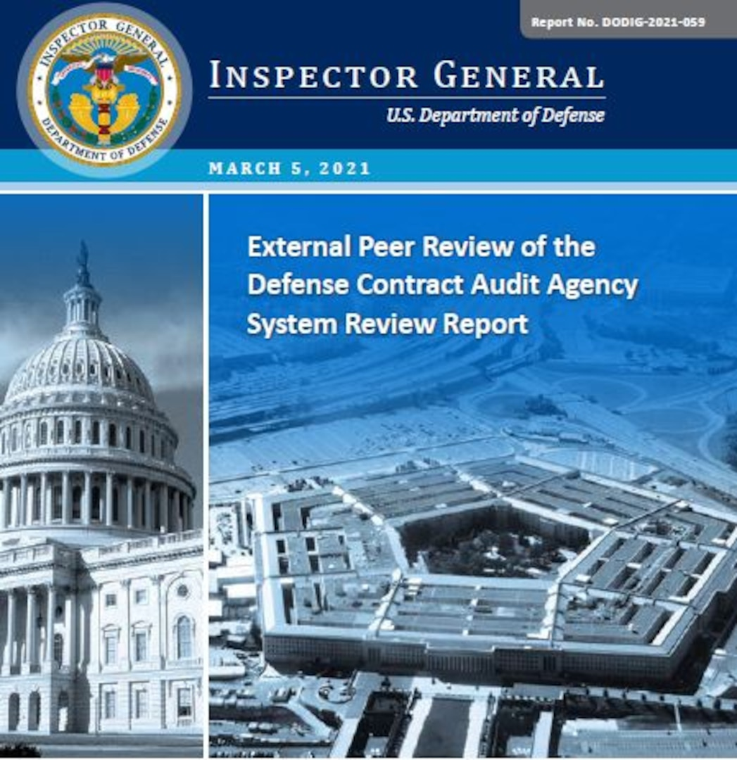 Cover of the DoDIG report of the DCAA peer review