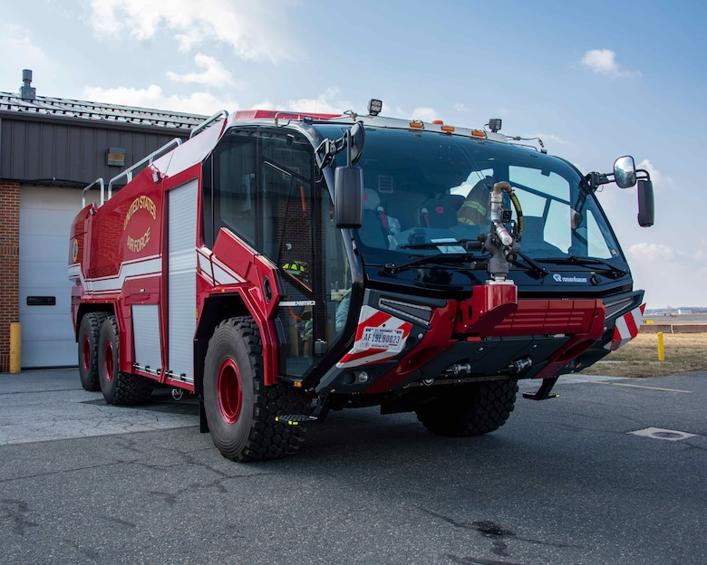 NEW CASTLE AIR NATIONAL GUARD BASE, Del.—Station 33's new Rosenbauer Panther P-23 crash truck is parked outside of its bay on 4-March-2021. The new truck greatly expands the capability of the fire station to respond to airfield emergencies. (U.S. Air National Guard photo by A1C Brandan Hollis)