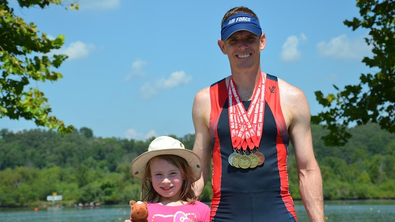 Col. Ben Boehm and daughter Tabitha, at a rowing competition.  (Courtesy photo)