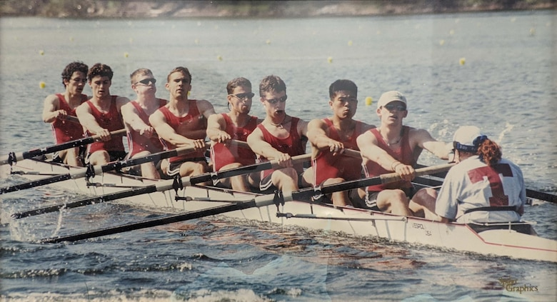 Ben Boehm, (third from left), participating in a rowing event as a student at the Massachusetts Institute of Technology. (Photo by Sport graphics)