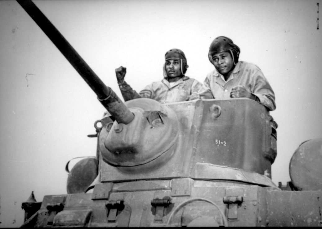 Two recruits in a light tank during training in mechanized warfare at Montford Point, Camp Lejeune, N.C., April 1943.