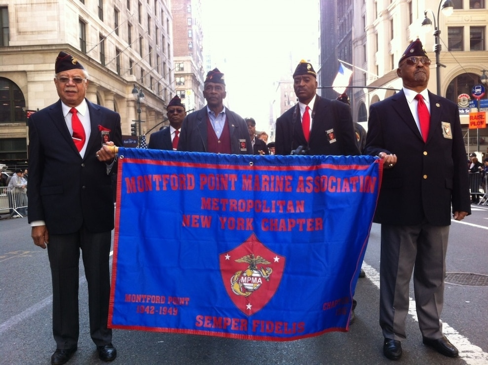 NYC Montfort point Marine association marches in the 2012 New York City Veterans Day Parade.