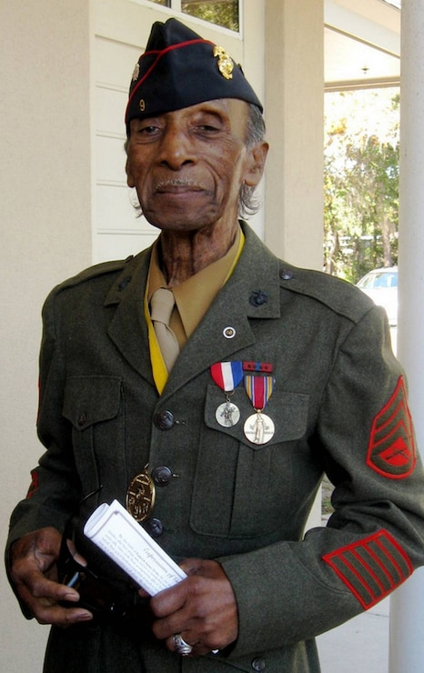 Retired Gunnery Sgt. LaSalle R. Vaughn in his U.S. Marine Corps uniform at the funeral of his best friend and next-door neighbor, retired Marine Master Sgt. Frederick Drake, in November 2010.