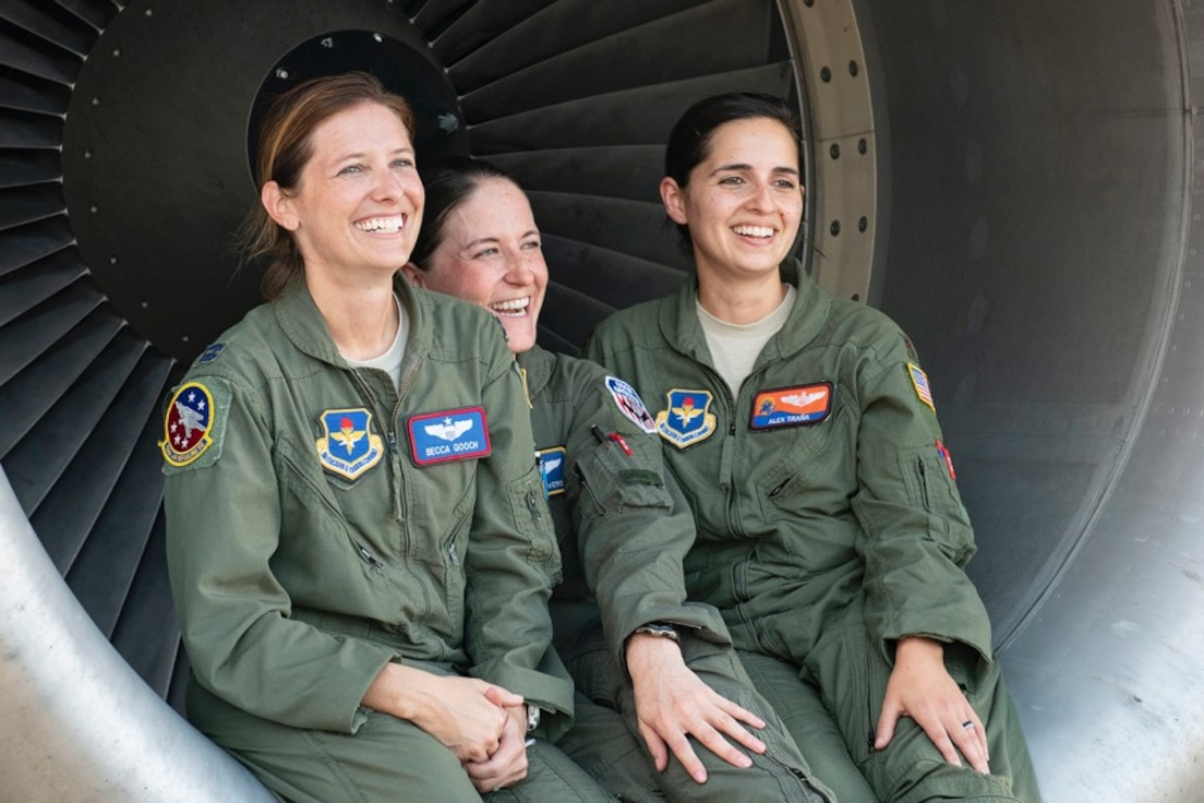 Left to right: Capt. Rebecca Gooch, a KC-135 Stratotanker instructor pilot; Master Sgt. Samantha Converse, a KC-135 instructor/evaluator boom operator; and Maj. Alexandra Trana, a KC-135 instructor pilot, pose at Alliance Airfield in Fort Worth, Texas, Sept. 18, 2019. (U.S. Air Force photo by Breanna Klemm)