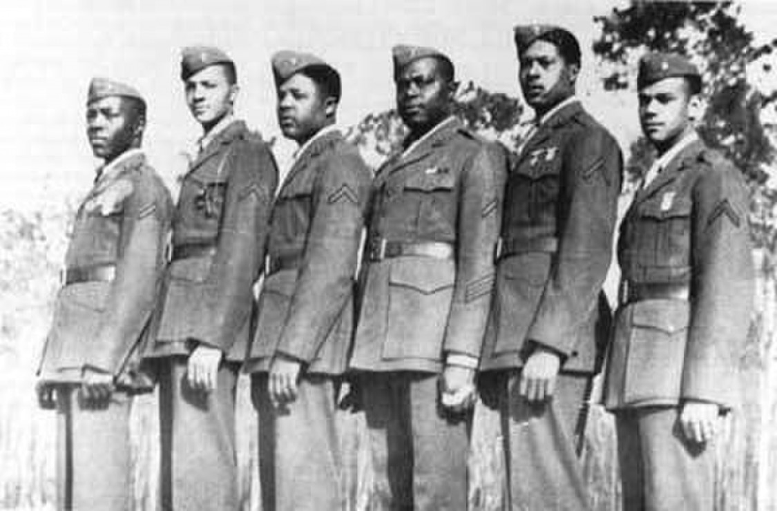 "Marines of the first African-American platoon pose in this undated photo. From left are Mortimer A. Cox, Arnold R. Bostick, Edgar R. Davis, Jr., Gilbert H. ""Hashmark"" Johnson and Edgar R. Huff (the platoon's drill instructors,) and Charles E. Allen."