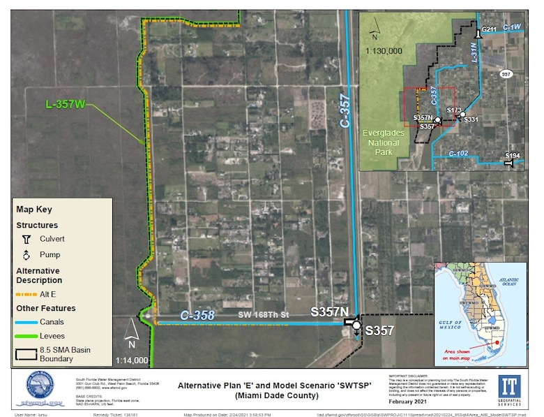 Location of Proposed Seepage Cutoff Wall in 8.5 Square Mile Area