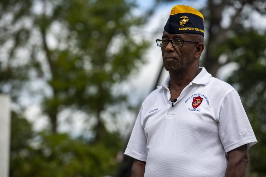 Houston Shinal, the previous national monument director for the National Montford Point Marine Association, conducts an interview about the Montford Point Marines at the Montford Point Marines Memorial in Jacksonville, North Carolina, Aug 17, 2020.