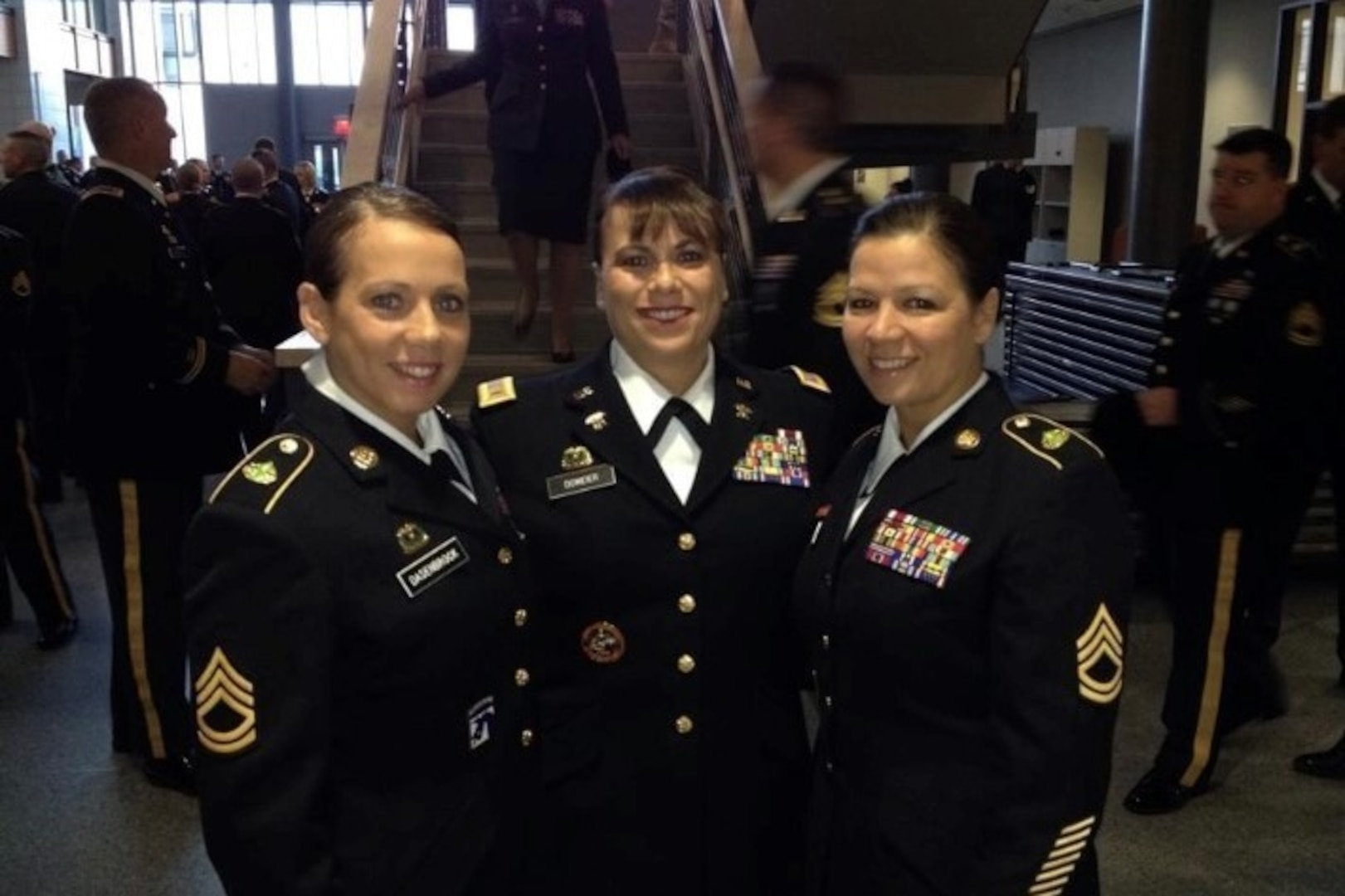 From left, then-Staff Sgt. Mellessa Dasenbrock, then-Chief Warrant Officer 4 Teresa Domeier and then-Sgt. 1st Class Bonnie Frazier, sisters who all served in the Nebraska National Guard. Domeier was nominated as the Army National Guard's first female command chief warrant officer in June 2018.