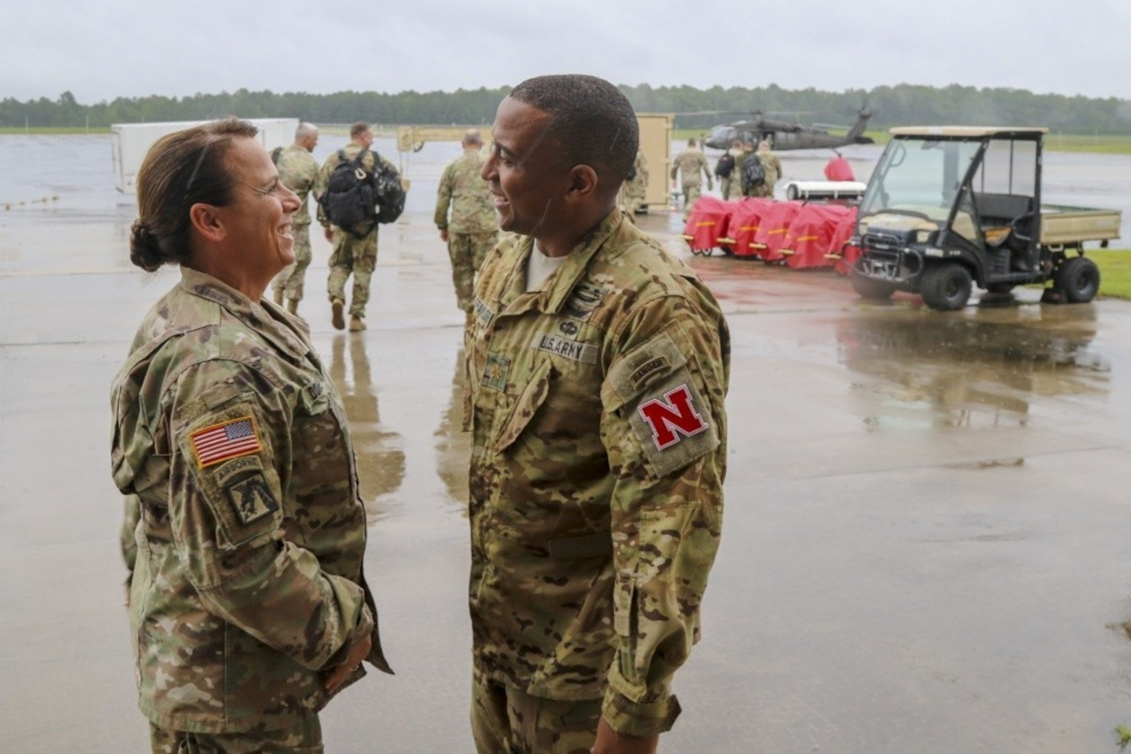 Chief Warrant Officer 5 Teresa Domeier, command chief warrant officer of the Army National Guard, speaks with Maj. Thomas Traylor of the Nebraska National Guard during the Guard's hurricane recovery efforts in North Carolina Sept. 16, 2018. Domeier is a native of Ceresco, Neb., and is the first female command chief warrant officer in the Guard's history.