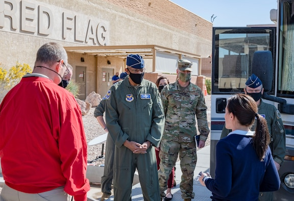 Air Force Chief of Staff Gen. Charles Q. Brown, Jr. is briefed on 5G capabilities by members of the United States Air Force Warfare Center at Nellis Air Force Base, Nev., March 4, 2021. Nellis AFB was one of the first five Department of Defense bases named to host the new 5G technology, and the only base specifically tasked to identify warfighting use cases for 5G.