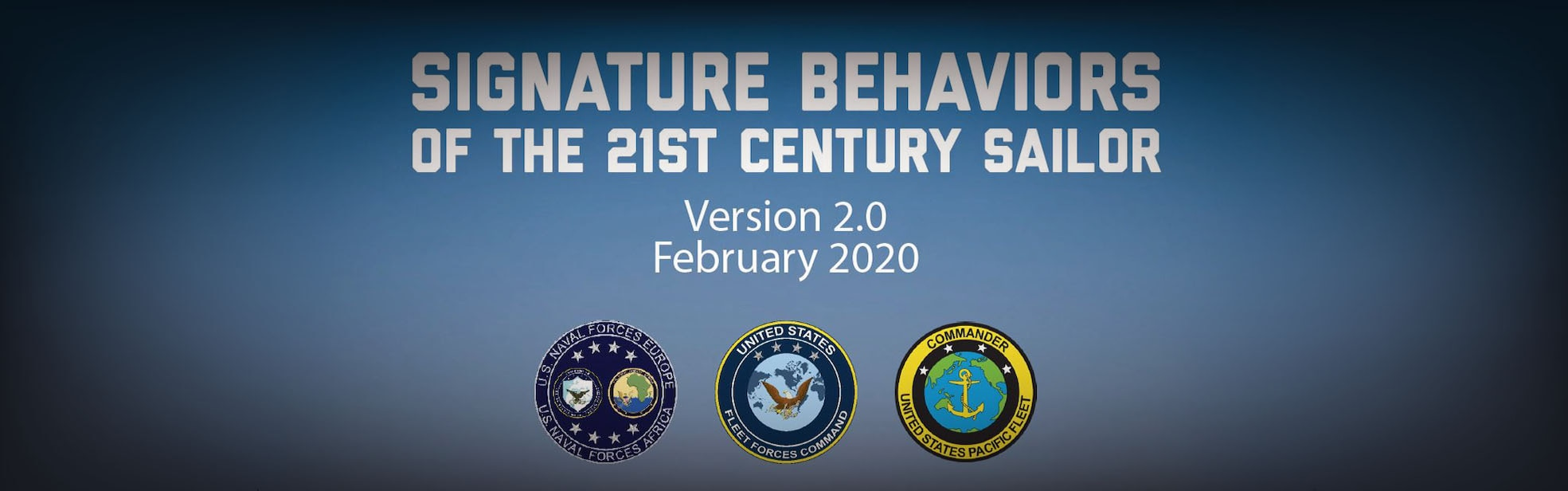 A U.S. Fleet Forces Command website banner for the Signature Behaviors of the 21st Century Sailor.