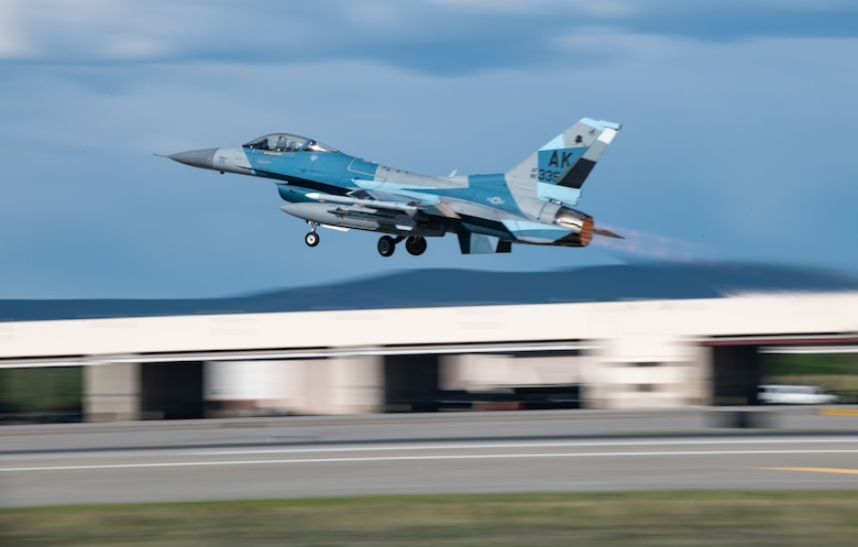 A U.S. Air Force F-16C Fighting Falcon assigned to the 18th Aggressor Squadron takes off during Northern Edge, May 20, 2019, from Eielson Air Force Base, Alaska. Northern Edge is designed to sharpen participants' tactical combat skills, to improve command, control and communication relationships and to develop plans and programs across the Joint Force. (U.S. Air Force photo by Staff Sgt. Micaiah Anthony)