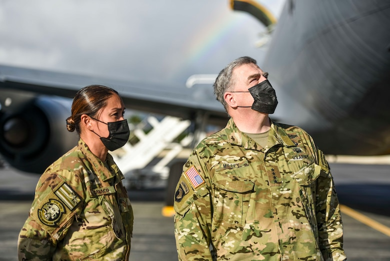 The Chairman of the Joint Chiefs of Staff U.S. Army Gen. Mark A. Milley  speaks with members of the 203d Air Refueling Squadron, Hawaii Air National Guard on Hickam Field at Joint Base Pearl Harbor-Hickam, Hawaii, March 4, 2021.