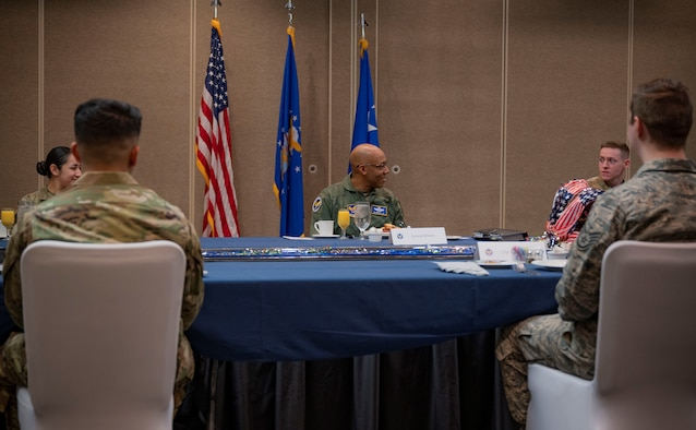 Gen. Brown speaks with Nellis Airmen