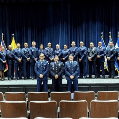 U.S. Air Force officer attends Inter-American group training.