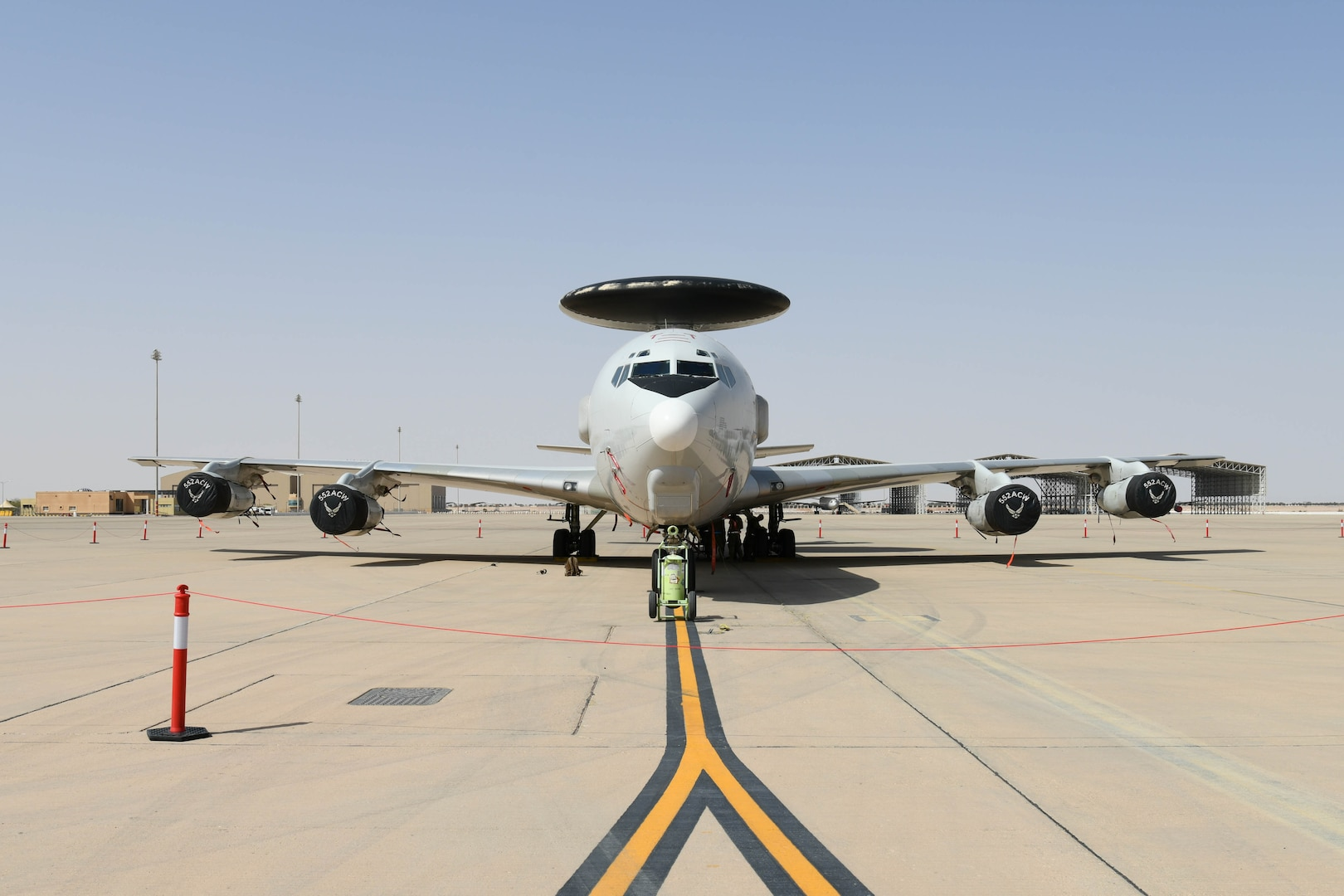 An E-3 Sentry (AWACS) sits on the flightline at Prince Sultan Air Base, Kingdom of Saudi Arabia, March 1, 2021.