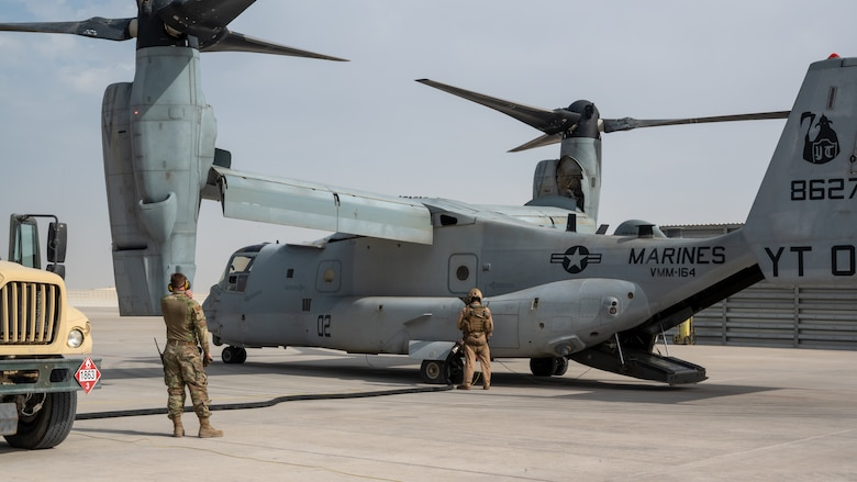 A U.S. Marine Corps MV-22 Osprey aircraft, attached to Marine Medium Tiltrotor Squadron 164 (Reinforced), 15th Marine Expeditionary Unit, undergoes refueling operations during an Air Forces Central Agile Combat Employment Capstone event at Al Udeid Air Base, Qatar, March 2, 2021. Integration of sister service airframes allowed Al Udeid AB Airmen to hone their skills to be prepared for any mission crucial to U.S. Central Command's area of responsibility.