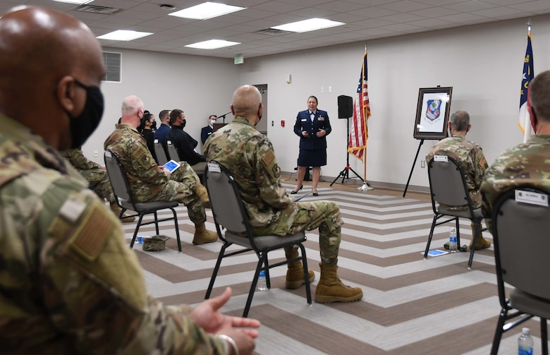 U.S. Air Force 145th Airlift Wing (AW) Command Chief Master Sgt. Susan A. Dietz remarks on her experience serving in the North Carolina Air National Guard (NCANG) during a Change of Authority Ceremony held at the NCANG Base, Charlotte Douglas International Airport, March 6, 2021. CMSgt Dietz, relinquishes authority of the 145th AW Command Chief position as CMSgt Harper, accepts authority.