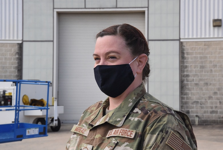 U.S. Air Force, Master Sgt. Jennifer Moreau, QA Inspector with 145th Airlift Wing, pauses to discuss the new hair regulations at the North Carolina Air National Guard Base, Charlotte Douglas International Airport, Mar. 6, 2021. Effective Feb. 2021, Air Force females are allowed to wear one or two braids, or a ponytail not exceeding the length of their underarm inseam. They may also have bangs that touch their eyebrows.