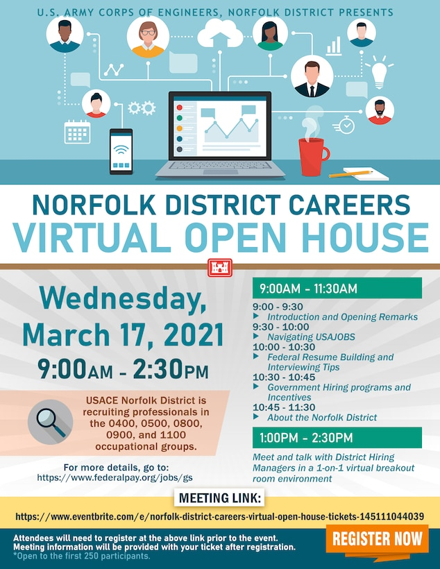 """Norfolk District """"Careers Virtual Open House"""" graphic created by Sheree Perry, Norfolk District visual information specialist."""