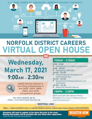 "Norfolk District ""Careers Virtual Open House"" graphic created by Sheree Perry, Norfolk District visual information specialist."
