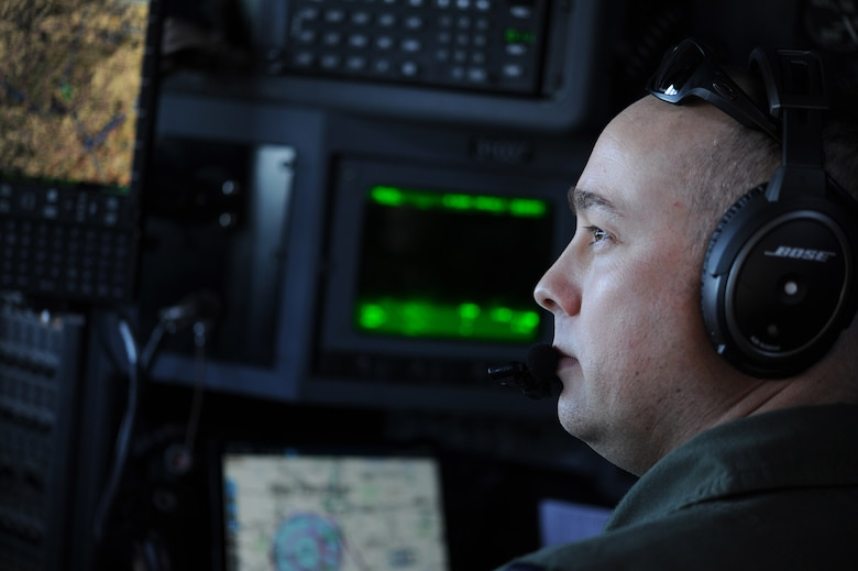 Capt. Stephen D. Shearer, a 700th Airlift Squadron navigator, flies over Rome, Ga. March 4, 2021. Multiple C-130s flew together as part of Baltic Wolf 2021, a large formation exercise incorporating other units within the Air Force Reserve Command. (U.S. Air Force photo by Senior Airman Kendra A. Ransum)