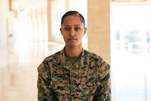 U.S. Marine Corps Sgt. Shaquira N. Dailey, an operations clerk with Recruiting Station Orange County, poses for a photo on March 5, 2021 in Santa Ana, California. Dailey and fellow Marines gathered at RS Orange County in order to celebrate National Women's History Month. Women's History Month is impactful to women in the Corps because it allows them to acknowledge the milestones that Marines have gone through in order to get to where they are today. (U.S. Marine Corps photo by Sgt. Sarah Ralph)