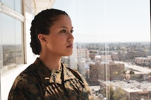 U.S. Marine Corps 2nd Lt. Hanna E. Alexander, a temporary officer selection assistant with Recruiting Station Orange County, poses for a photo on March 5, 2021 in Santa Ana, California. Alexander and other female Marines gathered at RS Orange County in order to celebrate National Women's History Month. Women's History Month is impactful to women in the Corps because it allows them to acknowledge the milestones that Marines have gone through in order to get to where they are today. (U.S. Marine Corps photo by Sgt. Sarah Ralph)