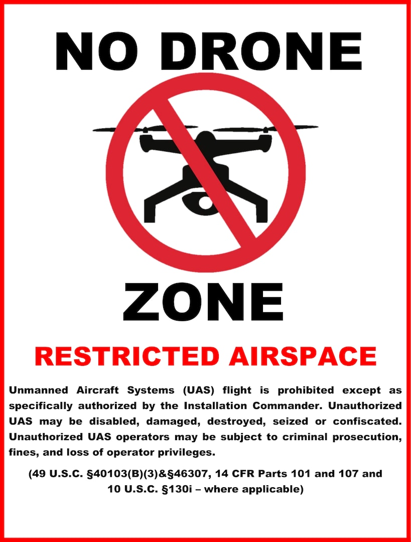 Joint Base San Antonio is a no-drone zone at all times at all installations. Launching, landing or operating unmanned or remote-controlled drones or model rockets is prohibited at all times. Many drone and unmanned aircraft systems, or UAS, users may not know that they inadvertently pose a threat to military operations.