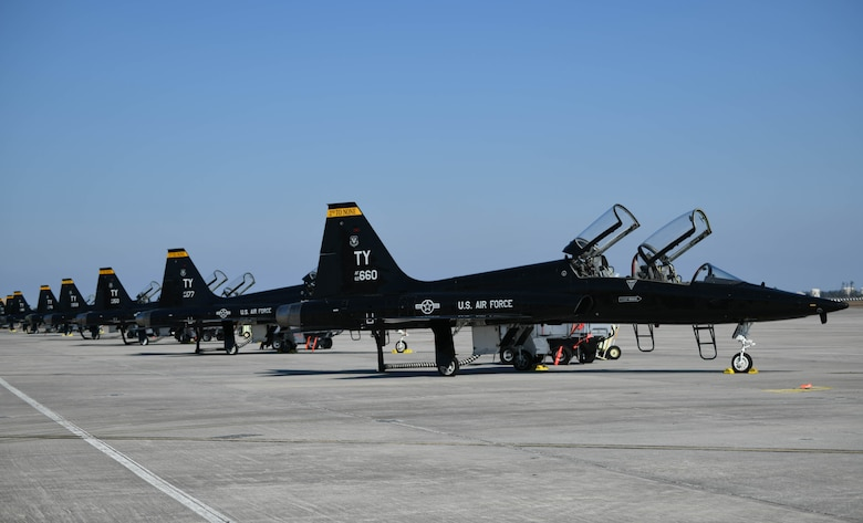 A row of T-38 Talons sit at Tyndall Air Force Base
