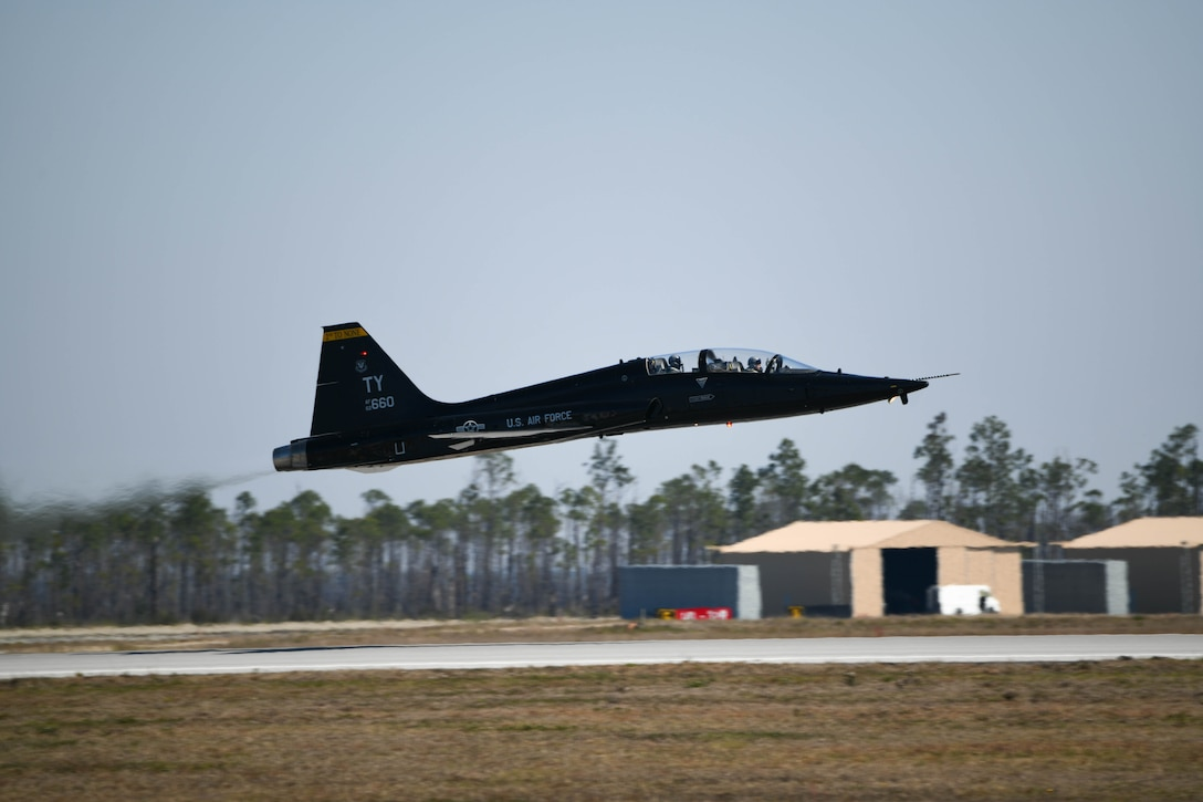 A T-38 Talon takes off from Tyndall Air Force Base