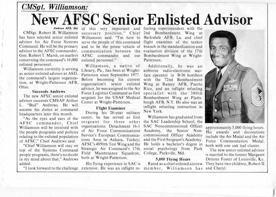 A news article about Chief Master Sgt. Robert Williamson