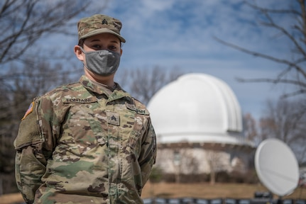 Sgt. Christina Fontaine, with the Vermont National Guard's medical detachment, poses for a photo at the United States Naval Observatory in Washington, D.C., Feb. 17, 2021. The National Guard has been requested to continue supporting federal law enforcement agencies with security, communications, medical evacuation, logistics and safety support to state, district and federal agencies through mid-March. (U.S. Air National Guard photo by Staff Sgt. Joshua Horton)