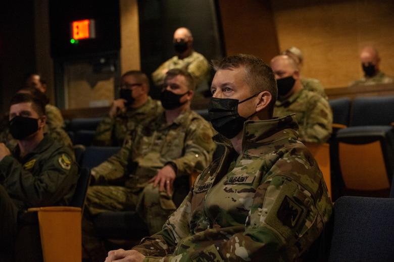U.S. Army General Daniel R. Hokanson, chief, National Guard Bureau, attends a briefing at the Vermont Air National Guard Base.