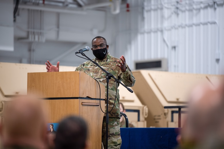 U.S. Air Force Chief Master Sgt. Maurice L. Williams, command chief, Air National Guard (ANG), addresses Airmen assigned to the 158th Fighter Wing, Vermont National Guard, during an SNCO induction ceremony.
