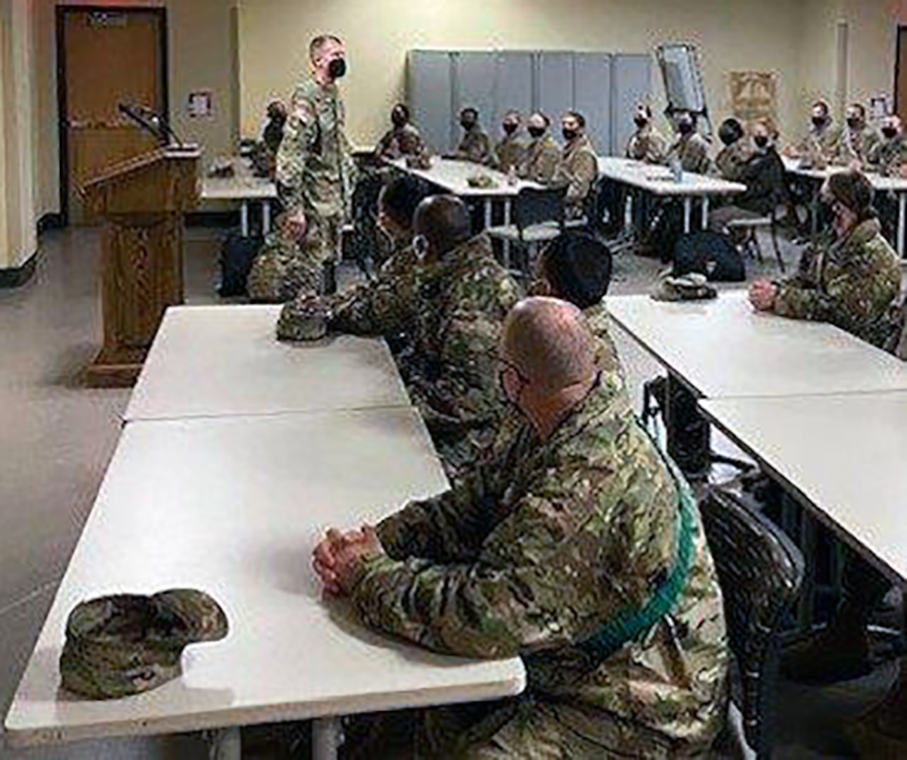 U.S. Army Medical Center of Excellence Command Sgt. Maj. Clark Charpentier discusses the Army Profession with Advanced Individual Training Soldiers assigned to the MEDCoE during Soldier in Transition Training, or SiTT, at Joint Base San Antonio-Fort Sam Houston last month.