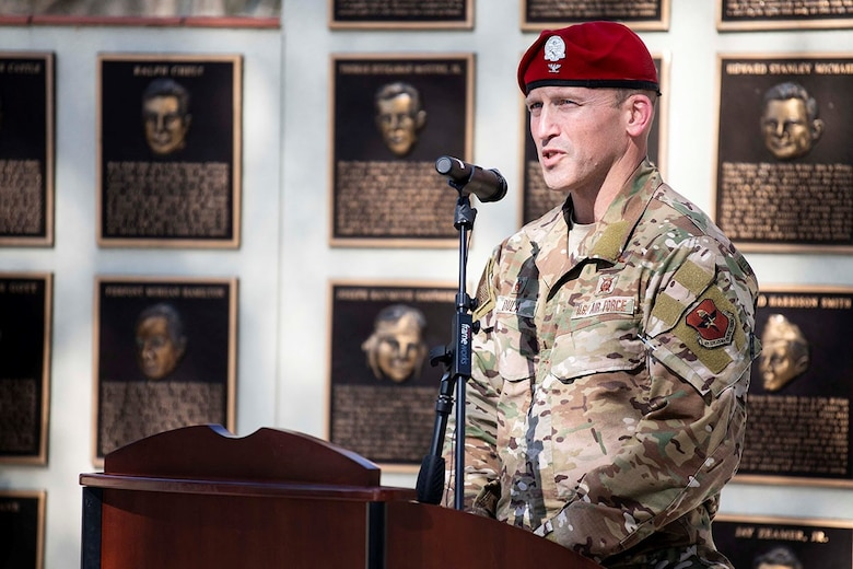 U.S. Air Force Col. Mason Dula, Special Warfare Training Wing commander, speaks during the Master Sgt. John Chapman Medal of Honor plaque unveiling ceremony at Airmen's Heritage Park at Joint Base San Antonio-Randolph March 4, 2021.