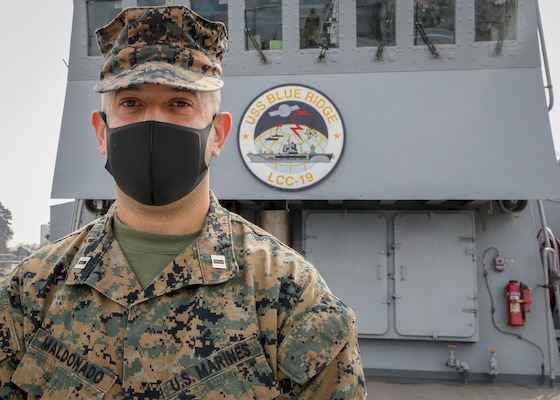 210305-N-MM501-1011 YOKOSUKA, Japan (March 5, 2021) - Staff Exchange Officer, Capt. Angel Maldonado, assigned to III Marine Expeditionary Force (MEF) in Okinawa, Japan, is taking part of a ten-week integration with U.S. 7th Fleet and III MEF. The focus of the integration is to ensure the U.S. Navy and Marine Corps aligns with the National Defense Strategy. U.S. 7th Fleet routinely operates and interacts with 35 maritime nations while conducting missions to preserve and protect a free and open Indo-Pacific Region. (U.S. Navy photo by Mass Communication Specialist 2nd Class Shannon Burns)