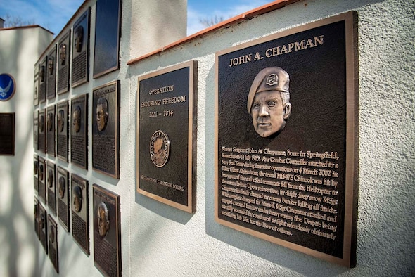 The Medal of Honor plaque for Master Sgt. John Chapman was unveiled during a ceremony at Airmen's Heritage Park at Joint Base San Antonio-Randolph March 4, 2021.