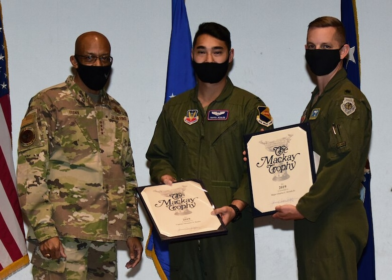 """Brown presented Boules and Stretch with the 2019 MacKay Trophy, for """"Most Meritorious Flight,"""" for a historic combat mission they flew over Afghanistan."""