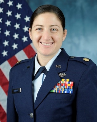 U.S. Air Force Maj. Andrea Hunwick, 426th ABS deputy squadron commander and staff judge advocate, poses for an official bio photo at Stavanger Air Base, Norway. (Courtesy photo)