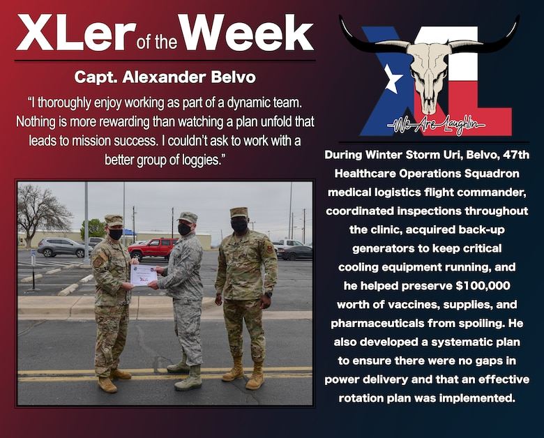 """Capt. Alexander Belvo, 47th Healthcare Operations Squadron medical logistics flight commander, was chosen by wing leadership to be the """"XLer of the Week"""", the week of Mar. 8, 2021, at Laughlin Air Force Base, Texas. The """"XLer"""" award, presented by Col. Craig Prather, 47th Flying Training Wing commander, and Chief Master Sgt. Brian Lewis, 47th Operations Group superintendent, is given to those who consistently make outstanding contributions to their unit and the Laughlin mission. (U.S. Air Force Graphic by Senior Airman Anne McCready)"""
