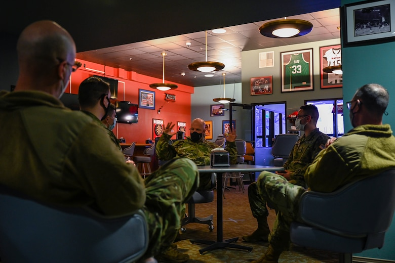 """U.S. Space Force Gen. John """"Jay"""" Raymond, Chief of Space Operations, and Chief Master Sgt. of the Space Force Roger Towberman, meet with Guardians assigned to the 354th Fighter Wing, on Eielson Air Force Base, Alaska, March 10, 2021."""