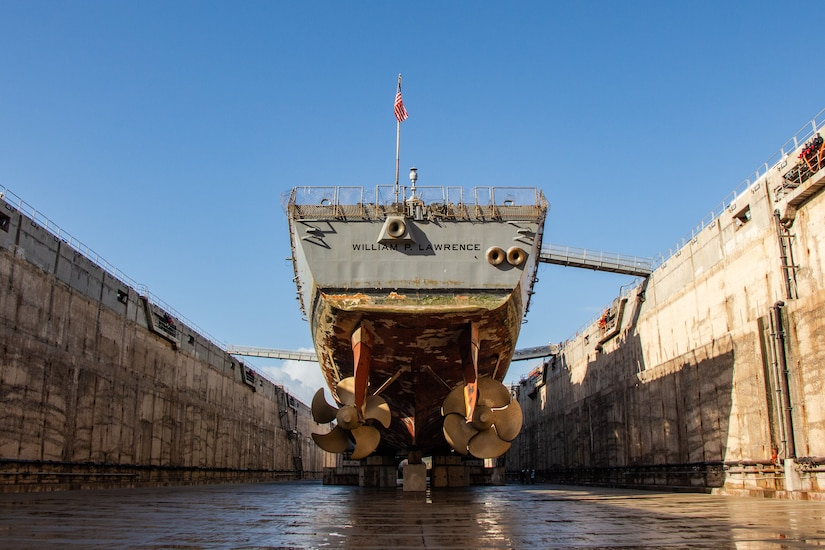USS William P Lawrence (DDG 110) docks in Dry Dock #4 at Pearl Harbor Naval Shipyard & IMF on March 9.