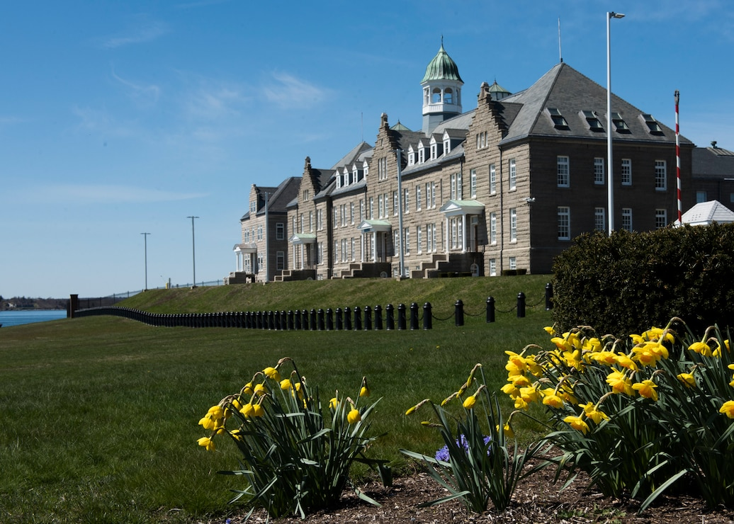 Photo of the U.S. Naval War College Luce Hall on Naval Station Newport, R.I., April 6, 2020.